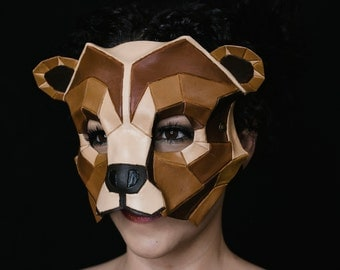Geometric Grizzly Bear Leather Mask for Masquerades Halloween or Cosplay Costume - Shape Variation