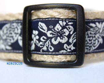 Hibiscus Flower Collar, Hawaii Dog Collar, Navy and White Collar, Pet Accessories, Adjustable Dog Collar, Pineapple Print Dog Collar, Collar