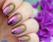 "Nail polish - ""A Step to Climb"" pink / copper / green multichrome polish"