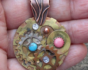 Turquoise and Coral Steam Punk Mixed Metal Pendant