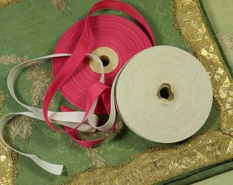 """Two rolls vintage grosgrain and twill tape rayon cotton ribbon 7/16"""" wide trim gray cream pink millinery hat doll dressing  millinery"""
