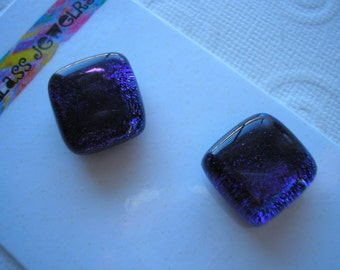 Magnets Dichroic Fused Glass Deep Blue Violet Set of Two Refrigerator Kitchen Magnets Matching Stocking Stuffers Office Hostess Gift Kiln