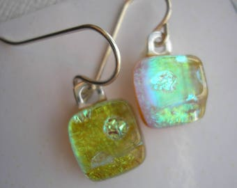 Earrings Petite Green Gold to Aqua Color Shifting Dichroic Fused Glass Jewelry Lightweight Earrings Petite Sterling Earwires Dangles Dichro