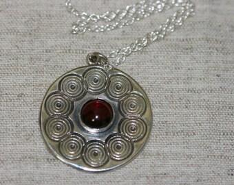Silver Pendant ,Silver Necklace, Garnet Pendant ,Spirals Silver Pendant,Big Garnet Silver Pendant, Garnet Necklace, Garnet Silver Jewelry,