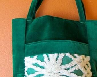 Lisa #82  Vintage Bedspread Bag, Knitting Bag, Small Knitting Bag, Small Knitting Project Bag, Handbag, Knitting Accessory Bag, Project Tote