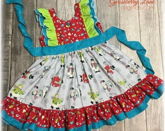Ready to Ship Size 6 Snowman in Sweaters Dress