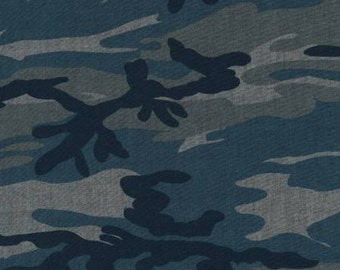 Navy Blue and Grey Storm Camo Chambray, Chambray Blvd Prints Collection by Robert Kaufman, 1 Yard