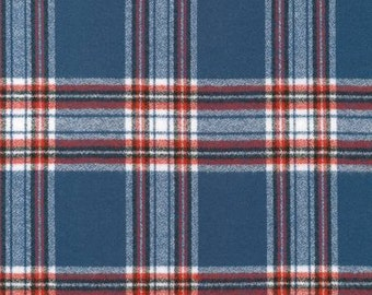 Blue Red and White Plaid Mammoth Flannel by Robert Kaufman, 1 yard