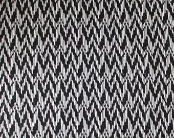 Black and Cream Abstract Stripe Closed Weave Sweater Knit Fabric, 1 Yard