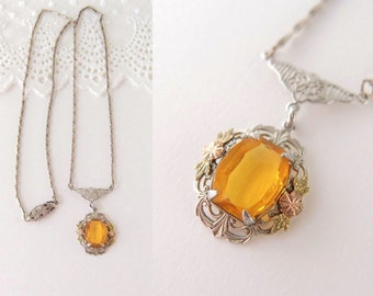 Edwardian Citrine Lavalier Necklace antique Amber Glass silver filigree Pendant with rose & green gold