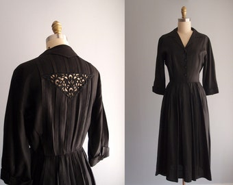 1950s Julie Miller black dress Fit and Flare full skirt Luxe Silk Taffeta shirtwaist Dress with 3/4 sleeves lace back ... 25 waist