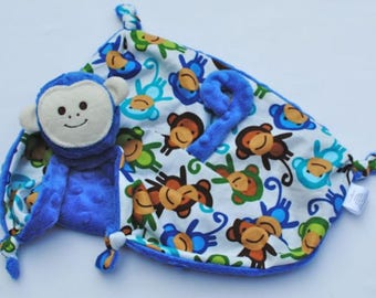 Embroidered Lovey, Monkey Blanket, Security Blanket, Baby Boy, Animal Blanket, Custom Baby Toy, Baby Blanket, Teething and Sensory Toy