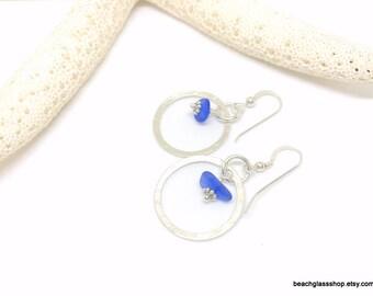 Sterling Silver Sea Glass Earrings - Sterling Hoop Earrings - Pierced Earrings - Lake Erie Beach Glass Jewelry - FREE Shipping inside the US