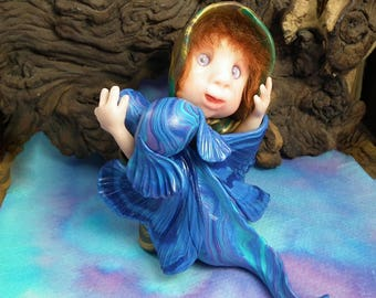 """20% off with Coupon Code:DRAGONDAYS20 Dragon Whisperer Gnome 'Esmae' in Dragon embrace 'Folie' 4+1/2"""" OOAK Sculpt Artist Ann Galvin Art Doll"""