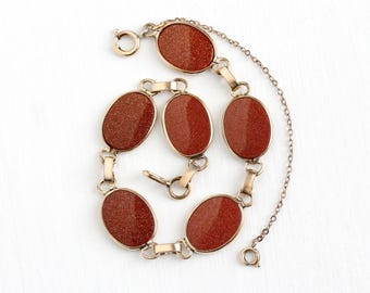 Vintage 12k Rosy Yellow Gold Filled Goldstone Glass Panel Bracelet - Retro 1950s Sparkly Oval Copper Brown Statement 1/20 12k GF Jewelry