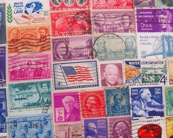America The Beautiful 100 Vintage US Postage Stamps Americana Native American Folk Art United States Ephemera Scrapbooking Steampunk USA 2