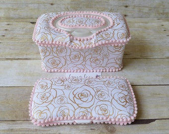 Set of 2, Large Nursery Wipe Case and Travel Baby Wipe Case, You Choose Trim Color, Rosegold Spiral Roses, Large Case and Travel Case