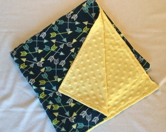 Minky and Flannel Arrow Baby Blanket