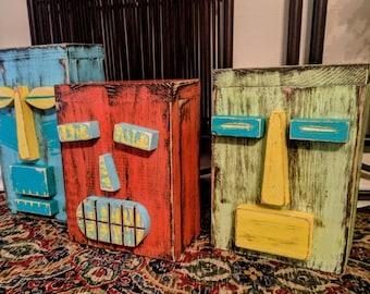 Set Of 3 Table Top Tiki's, Primitive Decor, Wood Box Sculpture, Secret Compartment