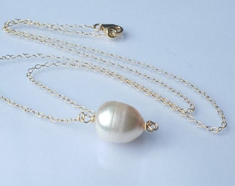 Soft Pink Pearl Necklace-Gold Filled Chain clasp findings.Wedding -Gift-Birthday-