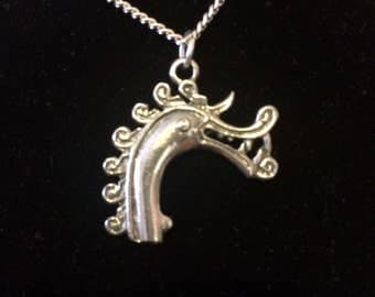 "Viking Dragon Necklace Pendant Charm On A Chain 22"" Silver Plated Chain Lead-Free Pewter Charm Vikings Ship Masthead"