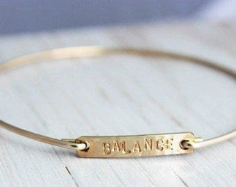 stacking bangle | simple gold bracelet| balance yoga yogi  inspired jewelry | personalized gift for her | inspirational word of the year