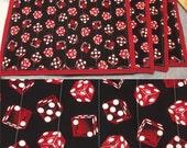 Custom order for Karen - Red Dice - Placemat set - 4 mats - Standard size