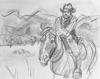 Rough Rider, 11x9 inches artist's crayon on sketchbook paper by Kenney Mencher