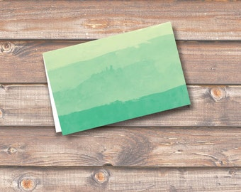 """Green Watercolor Ombre Place Cards Printable Food Tags Menu Place Cards Wedding Baby Shower Birthday 3.5 x 2.25"""" Tent-Style INSTANT DOWNLOAD"""