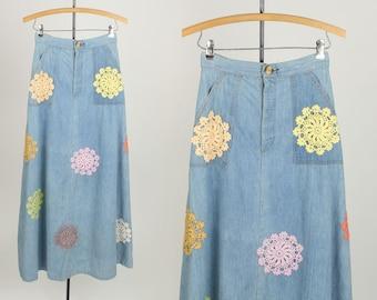 vintage denim maxi skirt • 1970s boho lace & love skirt xs