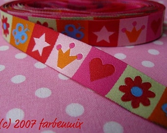 Jacquard Ribbon, Colourful Pictures Ribbon,  Farbenmix woven mixband bunt webband,  Sewing Tape, 1 metre