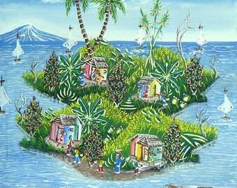 """Haitian Art, Art of Haiti, Wall Art, Naive Art, Canvas Painting, Wall Decor,  Haitian Painting, Canvas Art, Original Painting - 20"""" x 24"""""""