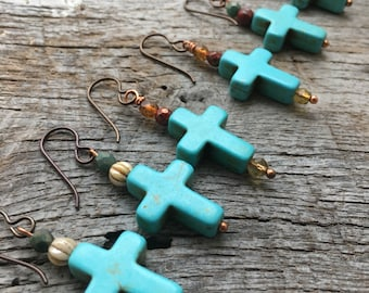 Western Turquoise Rustic Cross Dangle Earrings