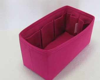 Fits Neverfull MM...Purse Insert ORGANIZER Purse Shaper . . New Color - Cerise .. .. Strong and Durable -(12x6x6)