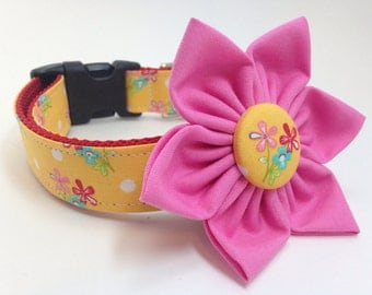 Custom Dog Collar - Mini Flowers on Lemon with Matching Flower- Classic Yellow Dog Collar with Mini Forget Me Nots and Polka Dots