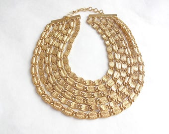6 Strand Gold Chain Statement Necklace by Monet