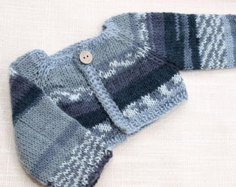 Waldorf Doll Clothes -Hand knitted Sweater Grey and White colors, fit 15- 17 inch size