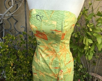 Vintage 1970s 1980s Liza Badoria Couture strapless pinup wiggle Hawaiian cocktail dress size S