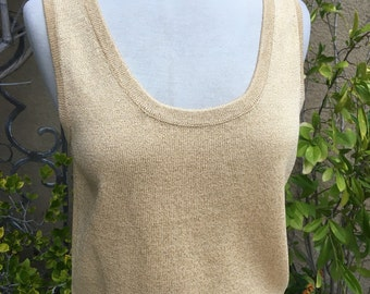 Vintage 1980s 1990s designer St John gold metallic knit sweater tank top size s