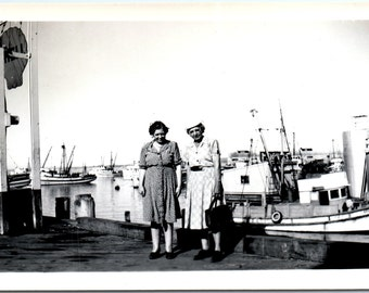 Vintage Photo - Ladies on the Pier - Vernacular, Found Photo (B)