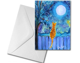 Cat on a fence Printed Greeting Card