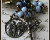 Holy Family Rosary, Blue Lace Agate & Lapis Lazuli Rosary, Single Decade Pocket Rosary, Unbreakable Rosary, Heirloom Rosary, Nativity Rosary