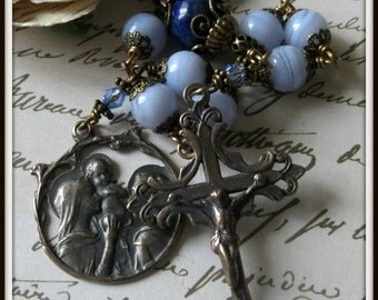 Blue Lace Agate & Lapis Lazuli Single Decade Rosary, Wire Wrapped w/ Holy Family Medal