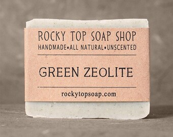 Green Zeolite Soap -  All Natural Soap, Handmade Soap, Unscented Soap, Cold Process Soap, Vegan Soap