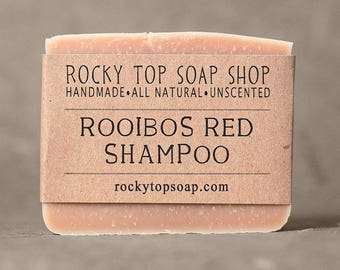 Solid Shampoo Bar with Rooibos Red Tea - All Natural Soap, Unscented Soap, Handmade Soap, Cold Process Soap