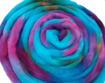 "Wool Roving for Spinning Babydoll Southdown Wool Fiber Needle Felting 2.5 Ounce Braid Combed Top Hand Dyed Aqua Plum  "" Flower Basket """