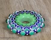 Lampwork Disc or Wheel Focal Bead in Green & Blue by Helen Gorick