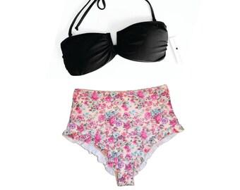 Ruffle Trim High Waist Bikini READY TO SHIP
