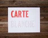 Carte Blanche Wood Type Letterpress Art Print
