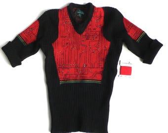 "Rare 1990s Jean Paul Gaultier ""Maille"" Circuit Board Sweater  Size: S-M"
